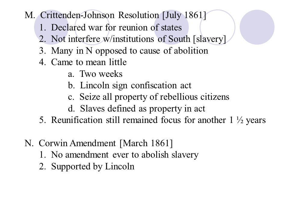 M. Crittenden-Johnson Resolution [July 1861]
